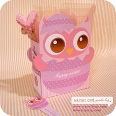 Easter Owl Goodie Bag and Bookmarks. Free! #owl #Easter #free #printable