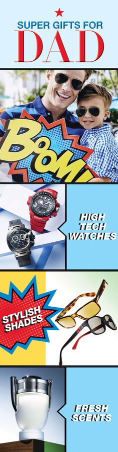 Shopping for dad just got a whole lot easier! Whether it's high tech watches, stylish shades or fresh scents—click or tap to see what Father's Day gifts we have in mind for the super man in your life.