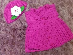 Crochet cute cardigan for little girls (Free Pattern)  Would be pretty easy to add sleeves.