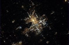 Cmdr_Hadfield (at the International Space Station): Grand Rapids, MI, with the lights on as seen from 300 miles up.