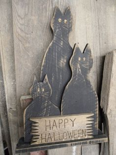 Primitive Halloween Black Cats  Distressed by LynxCreekDesigns, $39.99