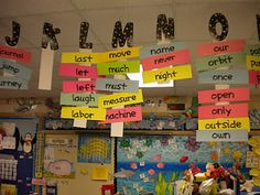 hanging word wall - pretty awesome idea. Saves wall space!