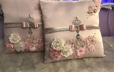 Two blush pink Quinceniera pillows , can be done in any size, color and theme ! Ring Bearer Pillows, Ring Pillows, Baby Pillows, White Pillows, Sofa Pillows, Bolster Pillow, Neck Pillow, Ring Pillow Wedding, Wedding Pillows