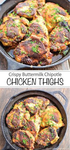 The perfect quick weeknight dinner, these crispy chicken thighs are marinated in buttermilk and tossed in a delicious spice mixture!   www.cookingandbeer.com