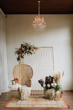 Backdrop backyerd arrangement Bohemian Vibes with Allure Bridals x Wilderly Bride Trendy Bohemian Wedding Decorations ❤️ bohemian wedding decorations bohemian chair macrame backdeop pampas grass flowers and carpet lauren rae photography We have collec