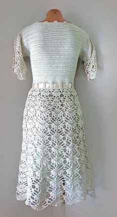 Style Wedding Dress, Simple Bridal gown with short sleeves, Midi, wrap, Crochet Cotton casual dress Simple Bridal Dress with short sleeves Midi wrap lace dress Crochet Wedding Dresses, Crochet Summer Dresses, Summer Dress Patterns, 50s Dresses, Short Dresses, Evening Dresses, Simple Bridal Dresses, Mode Crochet, Bohemian Mode