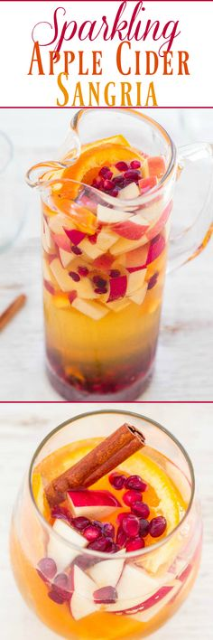 Sparkling Apple Cider Sangria - Apples, oranges, pomegranate seeds, and cinnamon sticks with sparkling cider are a FUN twist on classic sangria! So easy! Make it for your next party and everyone will want a refill! (easy non alcoholic beverages) Holiday Drinks, Fun Drinks, Yummy Drinks, Yummy Food, Drinks Alcohol, Alcoholic Beverages, Party Drinks, Cold Drinks, Best Apple Cider