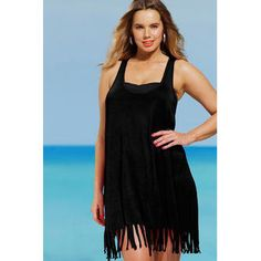 JohnPeter Women Round Neck Sleeveless Soft Loose Beachwear Tank Top Black 2