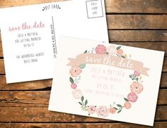 Printable Shabby Chic Floral Save the Date Wedding by SONNYAndCo, $9.99.....will have to check out which designs are available & total price