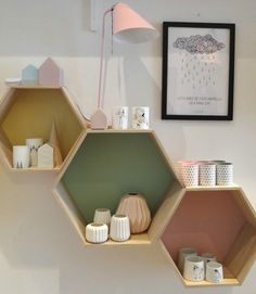 Bloomingville hexagon shelf set - Google Search