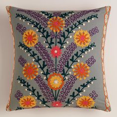 Gray Leaves and Blooms Throw Pillow | World Market