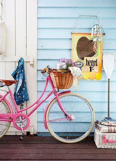 I'd like to have a pink bike with a basket like this!