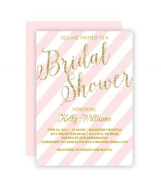 Free Printable Glitter Bridal Shower Invitation Templates  Gold
