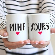 Mine And Yours Mugs Relationships Mugs Wedding Mugs His And Couple Mugs, Couple Gifts, Gifts For Family, Ceramic Mugs, Ceramic Art, Engagement Gifts For Couples, Valentines Mugs, Wedding Mugs, Ceramic Painting