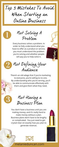 Top 3 Mistakes To Avoid When Starting an Online Business << Melanie Duncan // business