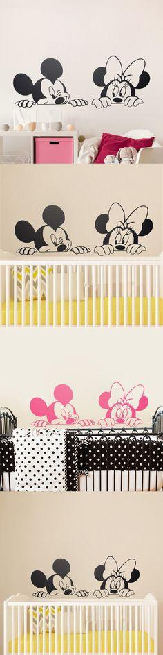 Cartoon Mickey Minnie Mouse Cute Animal Vinyl Wall stickers Mural Wallpaper Baby Room Decor Nursery Wall Decal Home Decor $8.99