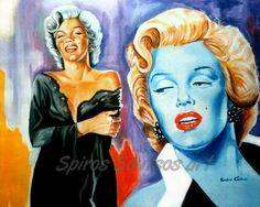 "Marilyn Monroe ""Niagara"" 1953, movie poster, acrylic painting"