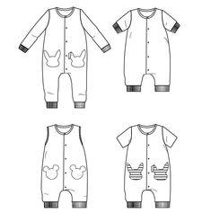 Patron de couture PDF à télécharger. Bébé Mixte 6 mois - 4 ans. Patron de couture - combi mixte super kawai!Patte de boutonnage devant Version jambes longues ou