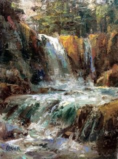 Yellowstone - Waterfall Near Sylvan Pass., painting by artist Julie Ford Oliver