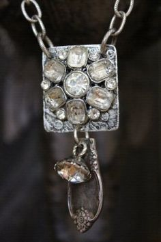 Vintage Rhinestone Earring, Button & Spoon Necklace by BelleVia, $52.00