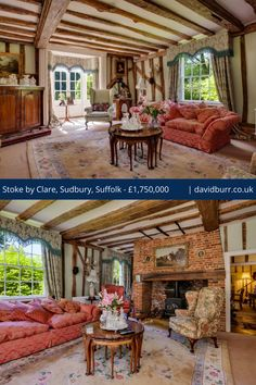 An impressive double aspect #drawingroom displaying heavy oak chamfered beams, an inglenook #fireplace with wood burning stove on brick hearth and a #baywindow with French doors leading to the gardens.