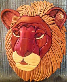 Lion  Intarsia Woodworking by ChrisMobleyDesigns on Etsy, $200.00