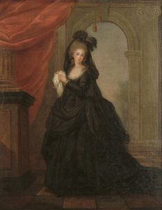 French School, Late 18th Century A lady wearing mourning clothes, standing before an arch, 40 x 31.