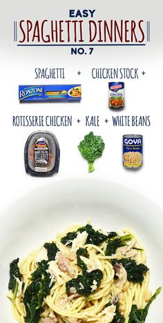 Spaghetti With Chicken, Kale, And White Beans~ dinner tonight, except using boneless chicken breasts.Maybe try with spaghetti squash. Kale Recipes, Pasta Recipes, Chicken Recipes, Cooking Recipes, Healthy Recipes, Spaghetti Recipes, Spaghetti Dinner, Chicken Spaghetti, Spaghetti Squash
