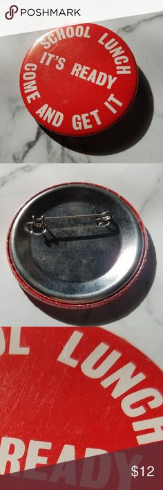 """Vintage School Lunch Pin // Bundle 2+ Buttons for  25 % off // // Bundle 3+ Buttons for  30 % off // // Bundle 4+ Buttons for  40 % off //  Category. Advertising  Text on Button. """"School Lunch It's Ready Come and Get It""""  Back Style. Safety pin  The Shape.  Circle  The Size.  ~2 1/4 inches across  // 80s 90s vintage retro lapel hat badge pinback button pin school days food trays lunchetime red flair // Vintage Accessories"""