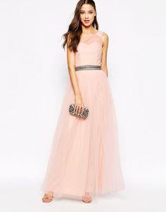 Little Mistress Tall | Little Mistress Tall One Shoulder Maxi Tulle Dress at ASOS