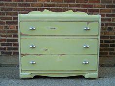 Vintage Distressed Dresser In Icy Sage