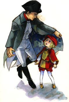 Francis with Napoleon Bonaparte. I'm pretty darn sure that Francis would NOT have been a little kid while Napoleon was alive, but this is just so cute! - Art by 異ぽう人 on Pixiv, found via Zerochan Hetalia France, Hetalia Axis Powers, Hot Anime Boy, Napoleonic Wars, Drawing Poses, Caricature, Manga Anime, Fan Art, Drawings