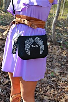 Miss Me Angel Wings Crossbody Purse - Black $39.00 #SouthernFriedChics