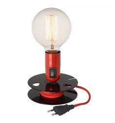 Lámpara de sobremesa bobina roja estilo industrial