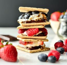 Fresh Berry S'mores With Graham Crackers, Large Marshmallows, Dark Chocolate, Fresh Berries