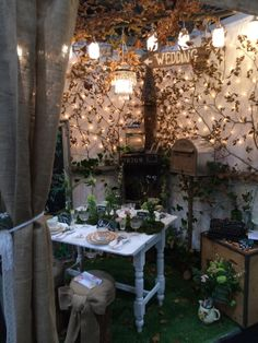Woodland theme wedding stand at Your Wedding Exhibition 2014.   Styling by Hazel Thomson @ A Vintage Tea Party