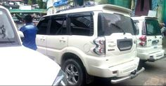 Law broken - Some Sikkim VIP vehicle with no number plate and banned tinted black glasses   Sikkim