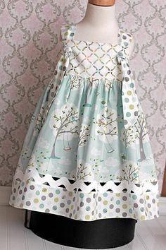 Spring Knot Dress made from Back Yard Baby Fabric by LittleNoel,45 -Love the. Fabrics and the ricrac above the hem