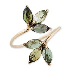 DOUBLE GREEN TOURMALINE PETAL WRAP RING (€685) ❤ liked on Polyvore featuring jewelry, rings, yellow jewelry, 14k jewelry, wrap ring, 14 karat gold ring and 14 karat gold jewelry