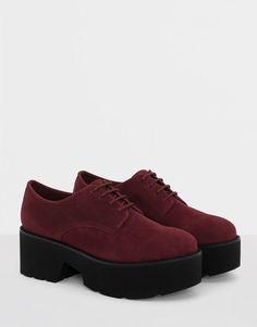 Pull&Bear - mujer - calzado - zapatos de tacon y cuñas - blucher plataforma - burdeos - 15375111-I2016