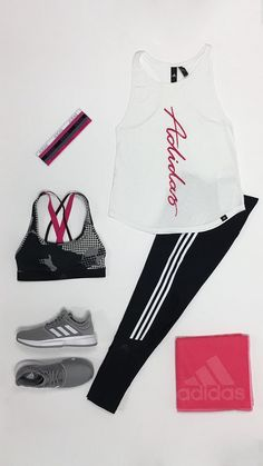 A new athletic fitness look for on or off the courts will be perfect this season! This look includes the adidas Essential tank worn with the Believe This high rise tights and an adidas Ready to Go sports bra for support. Accessorize your look with matching adidas Creator hairbands, and some adidas Game Court tennis shoes. Make sure to have your pink adidas 3 Stripe towel available for any workout.