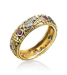 Alex Sepkus - Carved Collection 18K Yellow Gold Diamond, Ruby, Sapphire Band