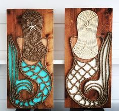 The original wood and rope Vertical Mermaid available at M Street Artwork, customizable by size and color. All designs copyrighted. Mermaid Crafts, Seashell Crafts, Beach Crafts, Ocean Crafts, Driftwood Crafts, Mermaid Room, Mermaid Tile, Rope Art, Beach Signs