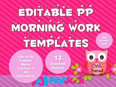 FlapJack Educational Resources: GIVEAWAY - 10 Owl Themed Morning Work PowerPoint Templates Packs!!!