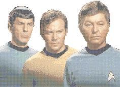 The three main characters from the classic Star Trek series, Captain Kirk, Mr. Spock and Dr. McCoy in counted cross stitch. Available in my shops on Art. Kirk, Spock and McCoy Star Trek Cross Stitch, Cross Stitch Boards, Counted Cross Stitch Patterns, Cross Stitch Designs, Cross Stitch Embroidery, Ribbon Embroidery, Spock, Star Trek Poster, Robin