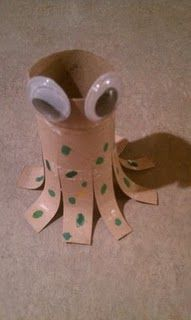 Love this! What you will need:   Toilet Paper Roll   Markers   Glue   Scissors   Googly eyes    Directions:   Cut eight legs and curl the legs upward around your finger.   Using yellow and green markers, make dots on the legs.   Glue on the googly eyes.