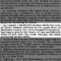 12/17/1852 David Sargent of Poca.  One son accidentally shoots and kills the other.