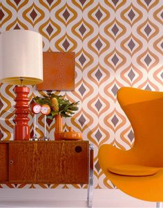Trippy Orange Wallpaper - Retro Wall Coverings by Graham Brown Orange Wallpaper, Retro Wallpaper, Trippy Wallpaper, Brown Wallpaper, Geometric Wallpaper, Eclectic Wallpaper, Accent Wallpaper, Wallpaper Decor, Wallpaper Ideas