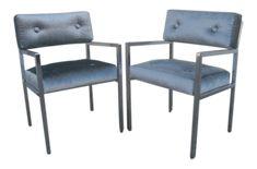 1970s Modern Chrome Armchairs in Greek Key Velvet Upholstery - a Pair on Chairish.com