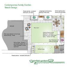 Corner Seating, Wood Store, Family Garden, Sketch Design, Garden Design, Floor Plans, Gardens, Contemporary, House